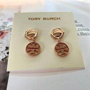 Tory Burch Retro Long Logo Earrings